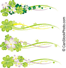 Horisontal Spring Banner with blooming clovers