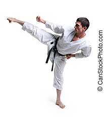 Karate. Man in a kimono hits foot on the white background