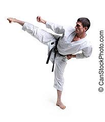 karate, hombre, kimono, golpea, pie