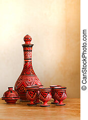 Still-life with Moroccan pottery - Still-life on table with...