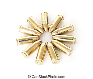 9mm bullets over white background