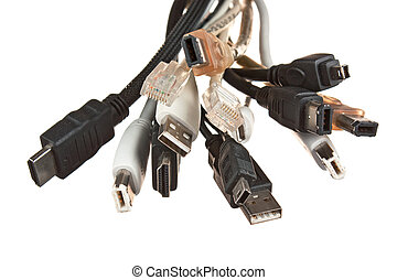 bunch of computer cables with sockets isolated on a white...