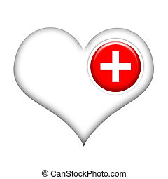 Heart Healing - Heart with medical cross isolated over white...