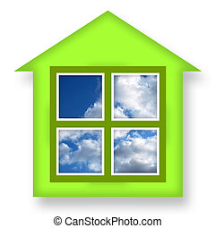 Green house with blue sky in windows over white background