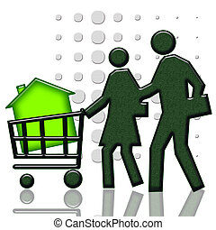Buying a home - Consumers with green house in shopping cart...