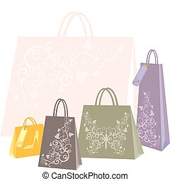 shopping bags in different colors and sizes