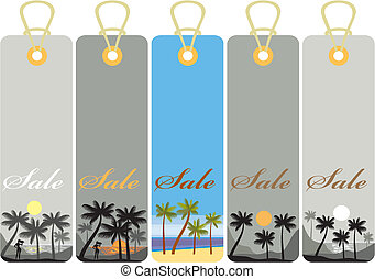 Summer price tags with sunset on a palm beach