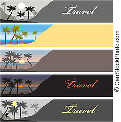 travel banner with Palm Beach - banner with sunset on a palm...