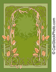 Vector template of art deco poster with tulips and ribbon.