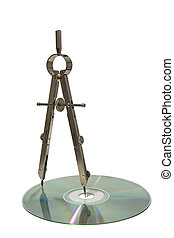 Compass. - Tracer compasses Spaces CD. Concept. Isolated on...