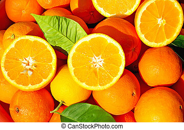 Sliced oranges - Sliced oranges in orange background