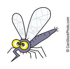 cartoon mosquito isolation over white - illustration of...