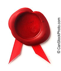 Red wax seal with red ribbon
