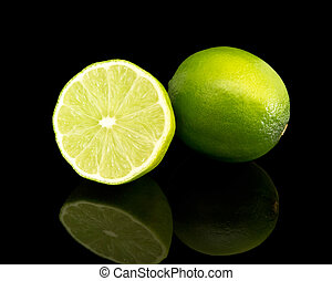 lime over black background