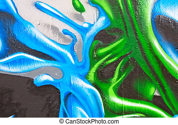 graffiti - Fragment of the colorful graffiti on the wall