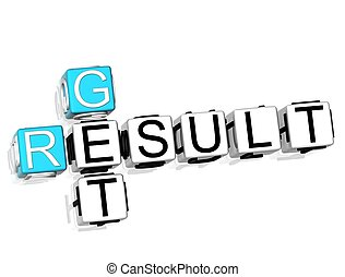 Get Result Crossword - 3D Get Result Crossword on white...