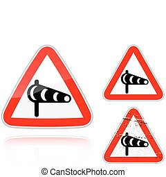 Set of variants a Sidewind - road sign