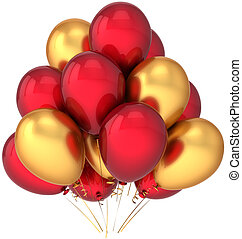 Red golden balloons decoration