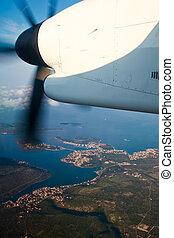 Aeroplane flying over Croatia