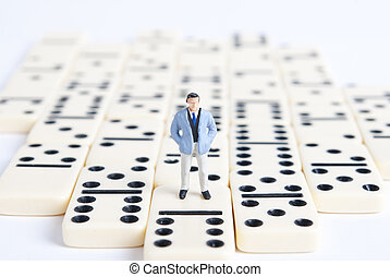 domino - one man on domino cubes