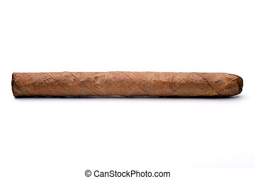 Single cigar isolated on a white background