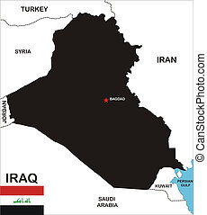 iraq map - political map of iraq country with neighbors and...
