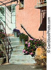 Pink provence house - Typical pink French pastel colored...