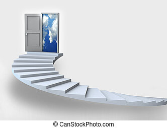 business Success 3D staircase - Staircase with open door to...