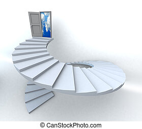 3D Success business spiral staircase - Staircase with open...