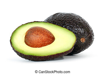 Avocado with shadow on white background