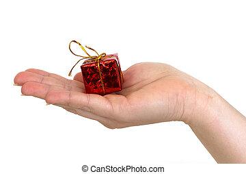 mano, Dar, regalo, caja