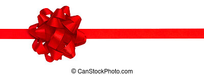 ribbon and bow - red ribbon and bow isolated over white...