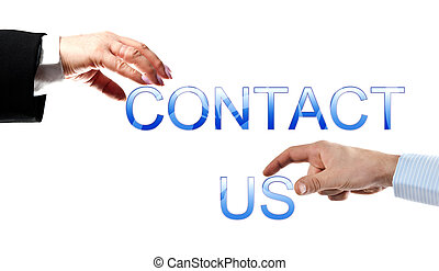 Contact us words made by business woman and man hands
