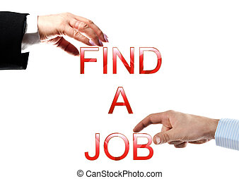 Find a job words made by business woman and man hands