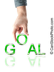 Business goal word - Business goalword made by male hand