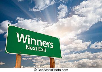 ganadores, verde, camino, señal, nubes