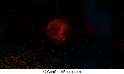 Lava Planet  - Burning Hot Lava Planet with Sun & Meteor