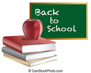 Classroom Back to School Chalkboard Books and Apple -...