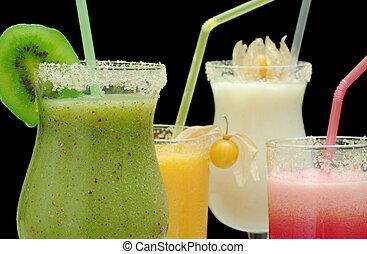 cuatro, diferente, papaya, coloreado, agua, frutas,...