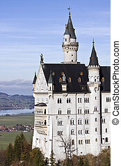 Neuschwanstein castle in Germany - Neuschwanstein castle in...