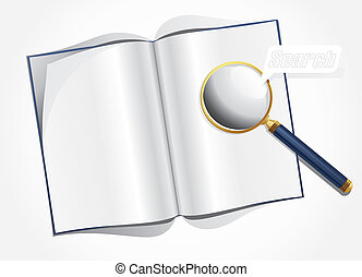 magnifier and layout magazine - Vector illustration of...