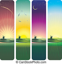 sunset and sunrise vertical banners