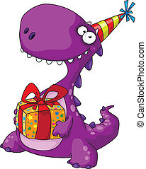 dinosaur and a gift - illustration of a dinosaur and a gift