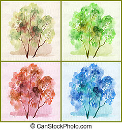 Water colour, trees - Picture, trees different colours:...