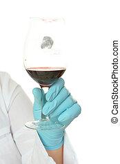 Huella digital, vino, vidrio