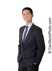 Asian business man with smiling, full length portrait...