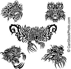 Tattoo lions - The collection of five tattoo designs with...