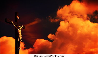 Jesus on cross, time lapse sky - Jesus on cross, time lapse...