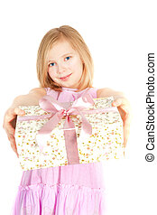 smiling girl holding present over white