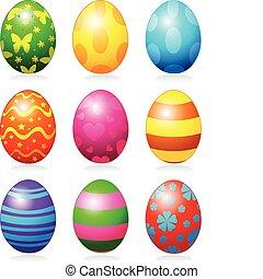 Easter eggs - Nine fine painted eggs designed for Easter